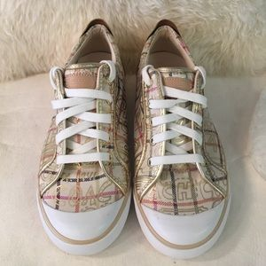 Womens Coach Barrett Gold Leather Sneakers 9.5 NEW